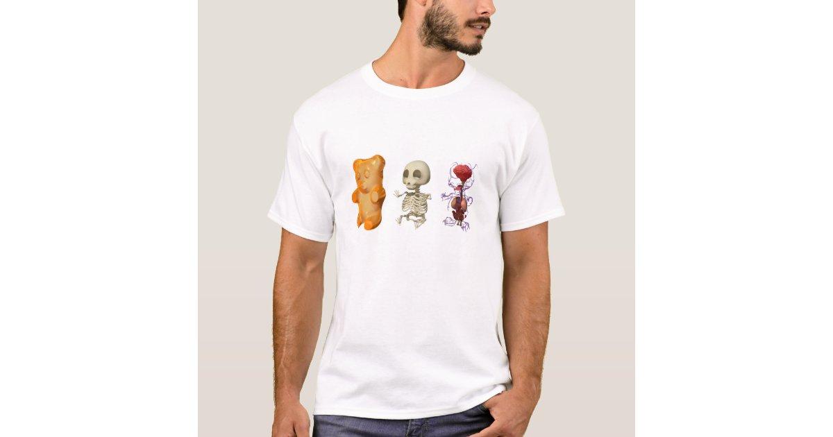 Camiseta BLANCO tríptico de la anatomía del oso de Gummi | Zazzle.es