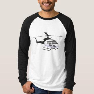 Camiseta blanco y negro del helicóptero