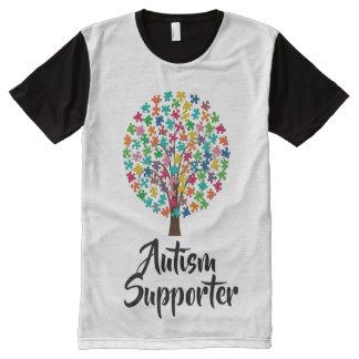Camiseta blanco y negro del partidario del autismo