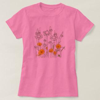 Camiseta Bosquejo del Wildflower de la flor de la amapola