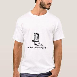 Camiseta botas de vaquero reales del desgaste de los