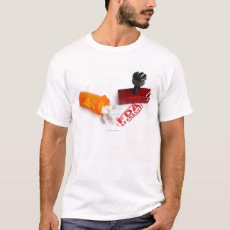 Camiseta Botella de píldoras y de un sello de goma APROBADO