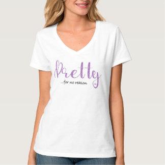 Camiseta Brillo púrpura bonito y cuello en v gris
