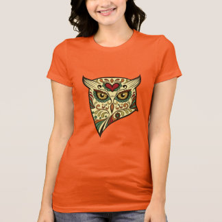 Camiseta Búho del cráneo del azúcar - diseño del tatuaje