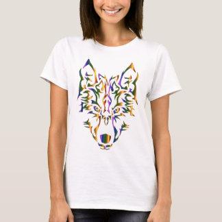Camiseta Cabeza tribal del lobo del arco iris (que mira