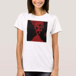 Camiseta Callejón minimalista negro y rojo