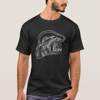 Camiseta Cámara del vintage en las líneas blancas