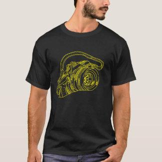 Camiseta Cámara del vintage en líneas amarillas