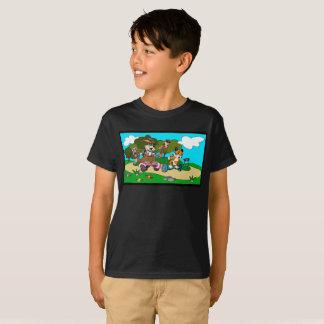 Camiseta Canguro y tigre del dibujo animado en un monopatín