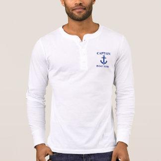 Camiseta Capitán náutico Boat Name Anchor Star Henley