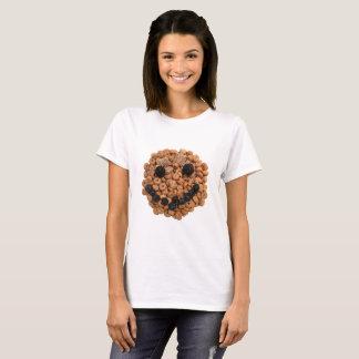 Camiseta Cara sonriente linda de la fruta y del cereal