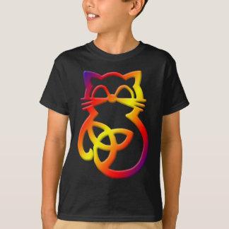 Camiseta céltica del gato del nudo de la trinidad