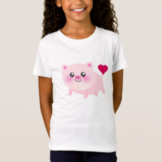Camiseta Cerdo rosado lindo en negro