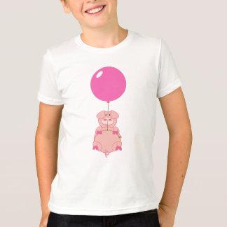 Camiseta Cerdo y globo lindos del vuelo