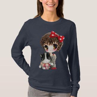Camiseta Chica lindo con el gato negro del kawaii