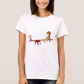 Camiseta Chicas del dibujo animado en una oscilación