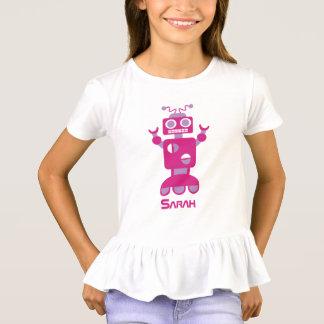 Camiseta Chicas personalizados robot púrpura rosado moderno