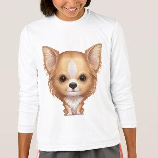 Camiseta Chihuahua beige y blanca de pelo largo