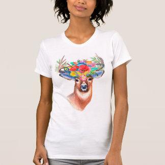 Camiseta Ciervos florales de la acuarela bohemia
