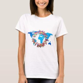Camiseta Círculo continente de la bandera de la gente