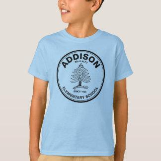 Camiseta coloreada de los niños, logotipo negro de