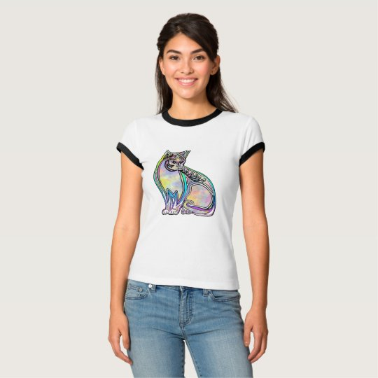 Camiseta Colorful psychedelic cat