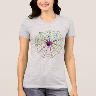 camiseta colorida del diseño web de la araña