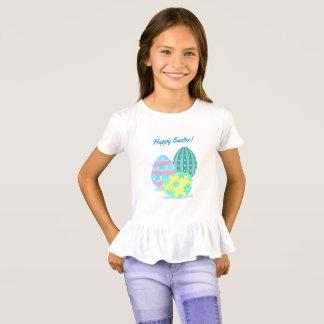Camiseta colorida feliz del volante de los huevos