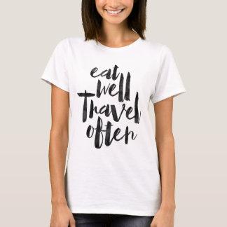 Camiseta Coma bien el viaje a menudo