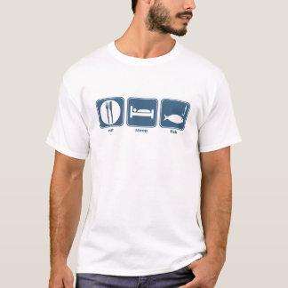 Camiseta coma, duerma, pesque