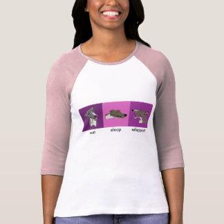 Camiseta Coma el raglán de las señoras de Whippet del sueño