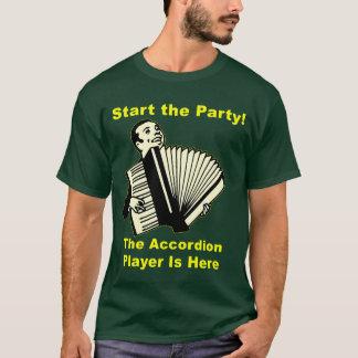 Camiseta ¡Comience el fiesta! El jugador del acordeón está