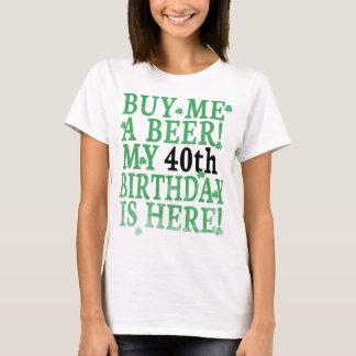 Camiseta Cómpreme un texto simple negro del 40.o cumpleaños