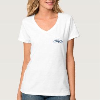 Camiseta Camiseta con cuello de pico de la diversión, lema