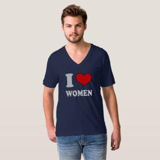 Camiseta con cuello de pico de las mujeres del