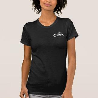 Camiseta con cuello de pico negra del logotipo