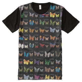 Camiseta Con Estampado Integral 30 especies de la mariposa de alrededor del mundo