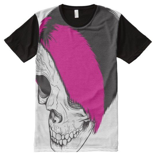 Camiseta Con Estampado Integral American Apparel unisex: Cráneo punky