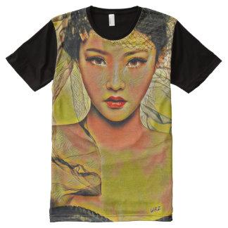 Camiseta Con Estampado Integral Arte asiático hermoso de la pintura acrílica de la