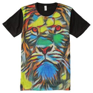 Camiseta Con Estampado Integral Arte colorido del león del aguazo