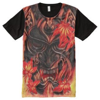 Camiseta Con Estampado Integral Arte japonés de la fantasía de la máscara del