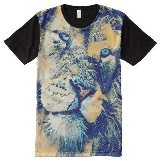 Camiseta Con Estampado Integral Arte japonés de la fantasía del león del samurai
