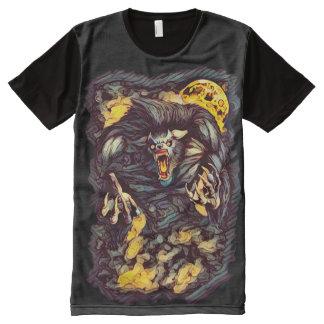 Camiseta Con Estampado Integral Arte oscuro del horror del hombre lobo fresco del