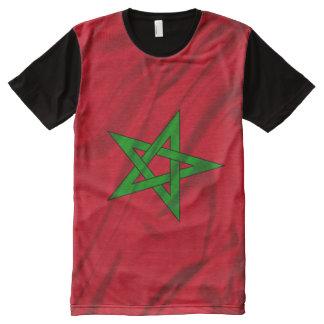 Camiseta Con Estampado Integral Bandera de Marruecos