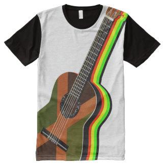 Camiseta Con Estampado Integral Bandera jamaicana de la guitarra del reggae de