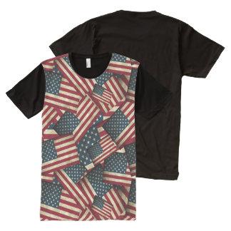 Camiseta Con Estampado Integral Banderas americanas apenadas