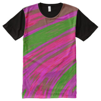 Camiseta Con Estampado Integral Chasquido rosado brillante del color verde