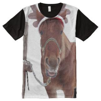 Camiseta Con Estampado Integral Ciervos del caballo - caballo del navidad -