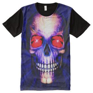 Camiseta Con Estampado Integral Cráneo azul