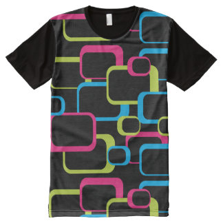 Camiseta Con Estampado Integral Cuadrados retros rosados de la verde lima y de las